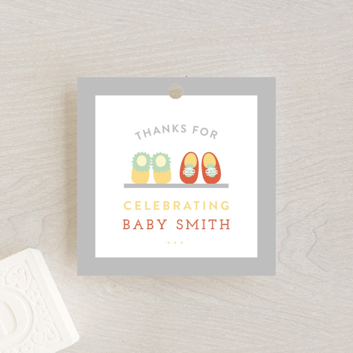 """Little Nursery"" - Vintage Baby Shower Favor Tags in Carrot by Michelle Poe."