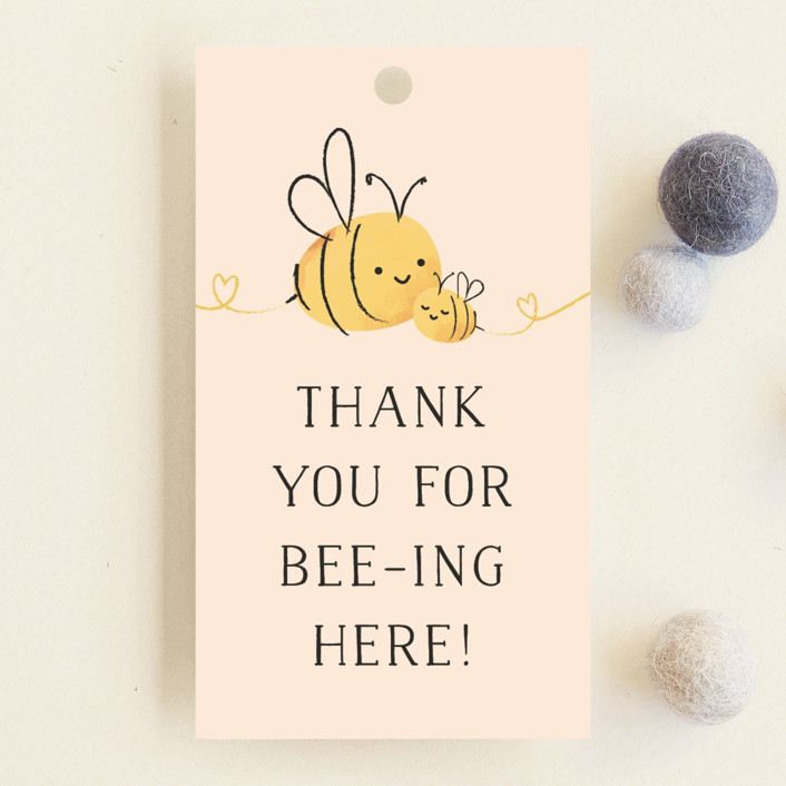 """""""Mommy-to-Bee"""" - Hand Drawn Baby Shower Favor Tags in Honey by Chryssi Tsoupanarias."""