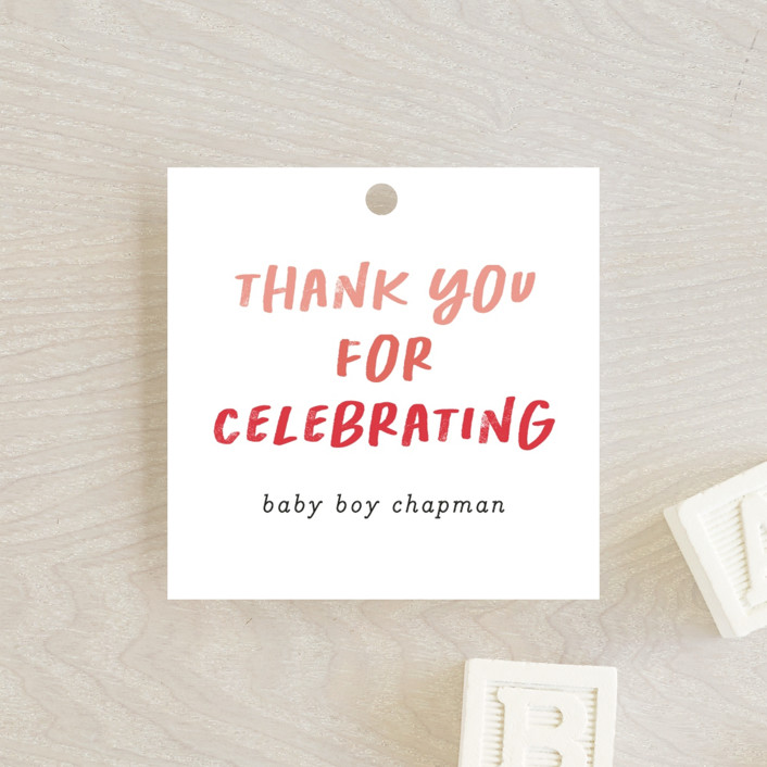 """""""Baby Basics"""" - Funny Baby Shower Favor Tags in Coral by Erica Krystek."""
