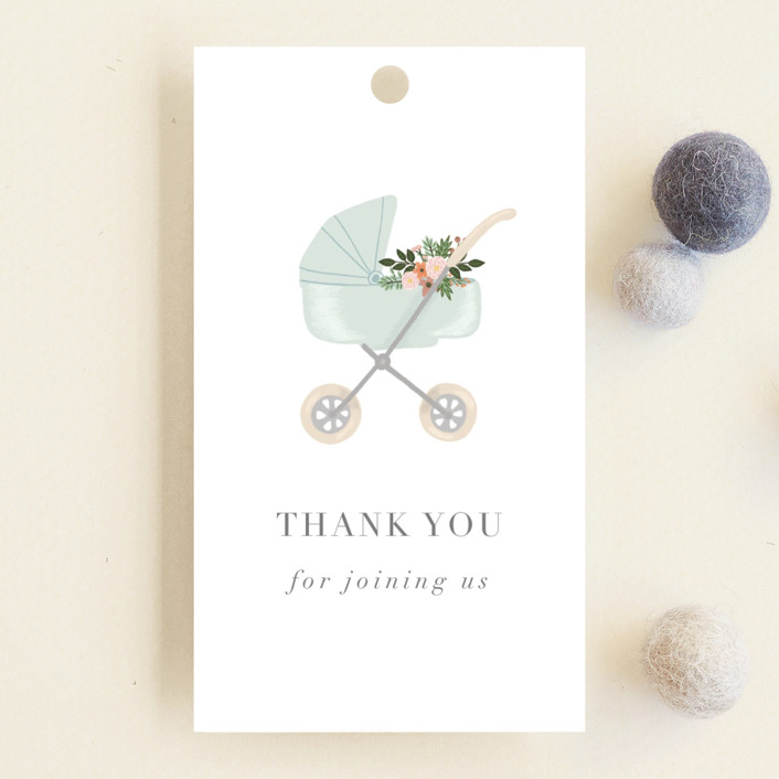 """""""Love and Flowers"""" - Whimsical & Funny Baby Shower Favor Tags in Mint by Juliana Zimmermann."""