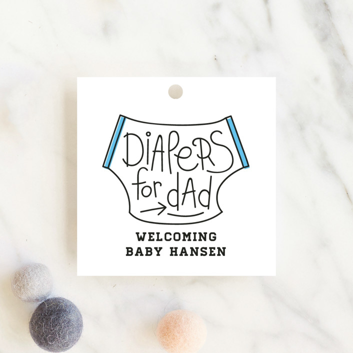 """""""Diapers for Dad"""" - Modern, Hand Drawn Baby Shower Favor Tags in Pool by Christina Novak."""