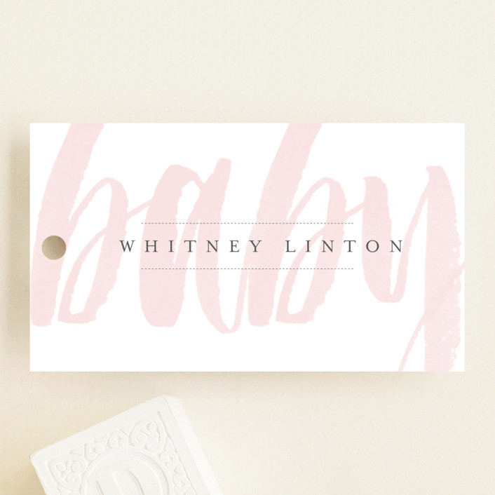 """Whisper"" - Modern, Bold typographic Baby Shower Favor Tags in Blush by Sara Hicks Malone."