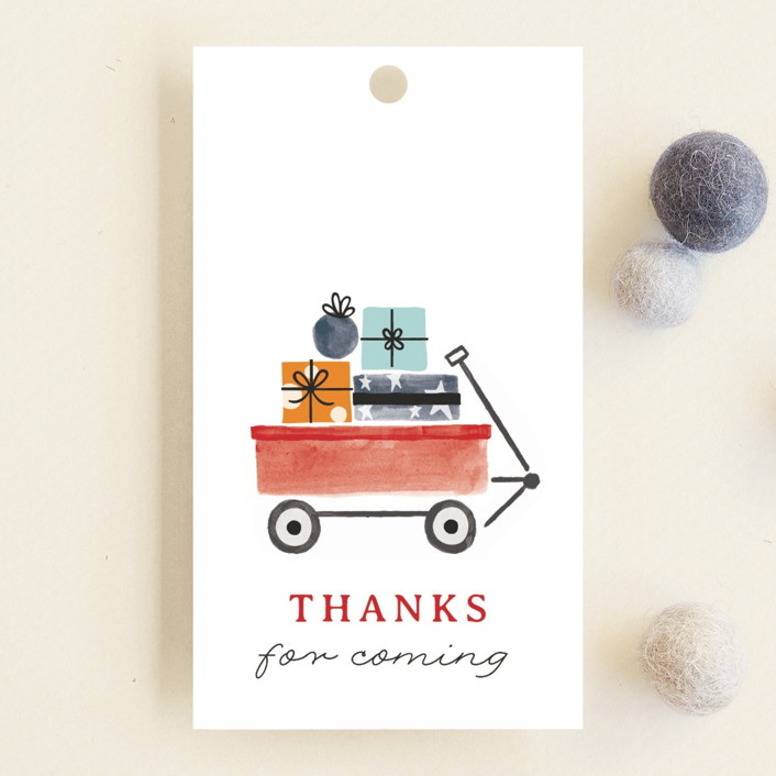 """Red Wagon"" - Whimsical & Funny Baby Shower Favor Tags in Merlot by JeAnna Casper."