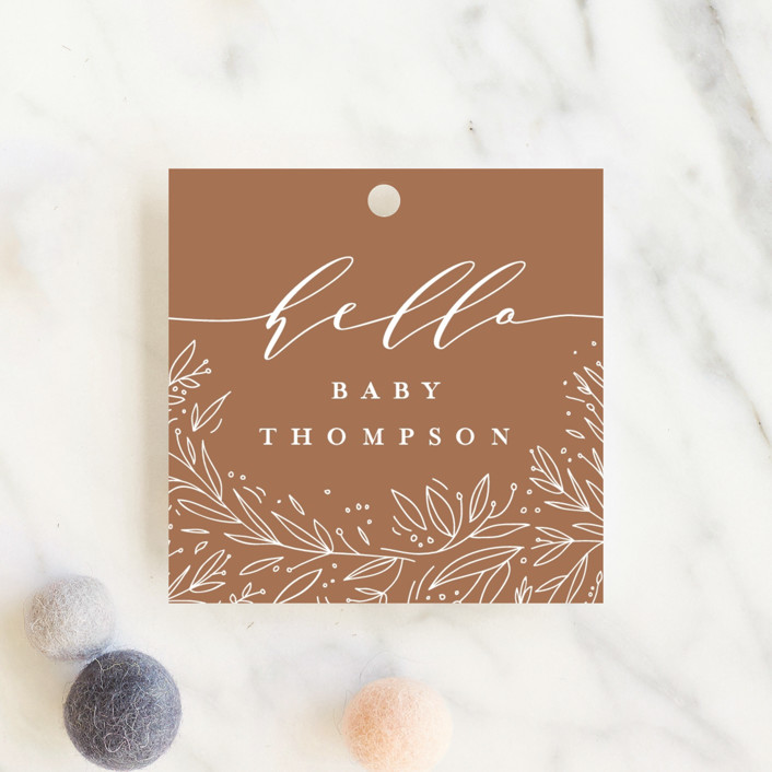 """big floral letters"" - Baby Shower Favor Tags in Snow by Anastasia Makarova."
