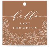 This is a white baby shower favor tag by Anastasia Makarova called big floral letters with standard printing on signature in sticker.