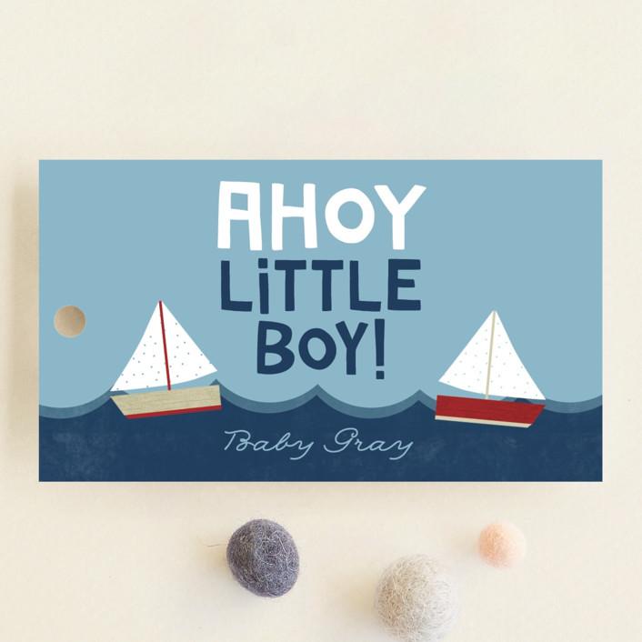 """Ahoy Little Boy"" - Hand Drawn Baby Shower Favor Tags in Marine by Ashley Hegarty."