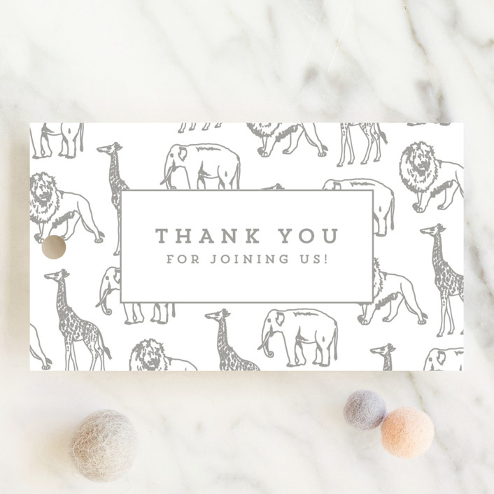 """""""Animal Parade"""" - Modern, Whimsical & Funny Baby Shower Favor Tags in Stone by Waldo Press."""