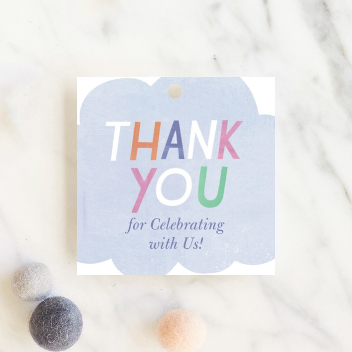 """""""Oh Baby! Rain Cloud"""" - Baby Shower Favor Tags in Periwinkle by melanie mikecz."""