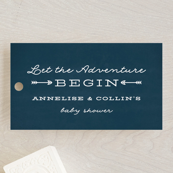 """Adventure Awaits"" - Baby Shower Favor Tags in Navy by Ink and Letter."