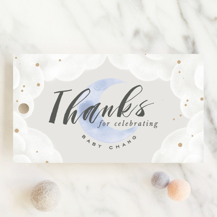 """Moon And Back"" - Baby Shower Favor Tags in Ocean Mist by Leah Bisch."