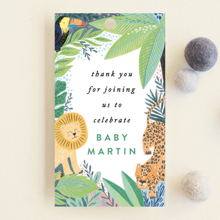 """""""Jungle Animal Sketchbook"""" - Baby Shower Favor Tags in Canary by Alethea and Ruth."""