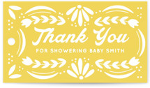 This is a yellow baby shower favor tag by Jessie Steury called Pretty Picado with standard printing on signature in sticker.