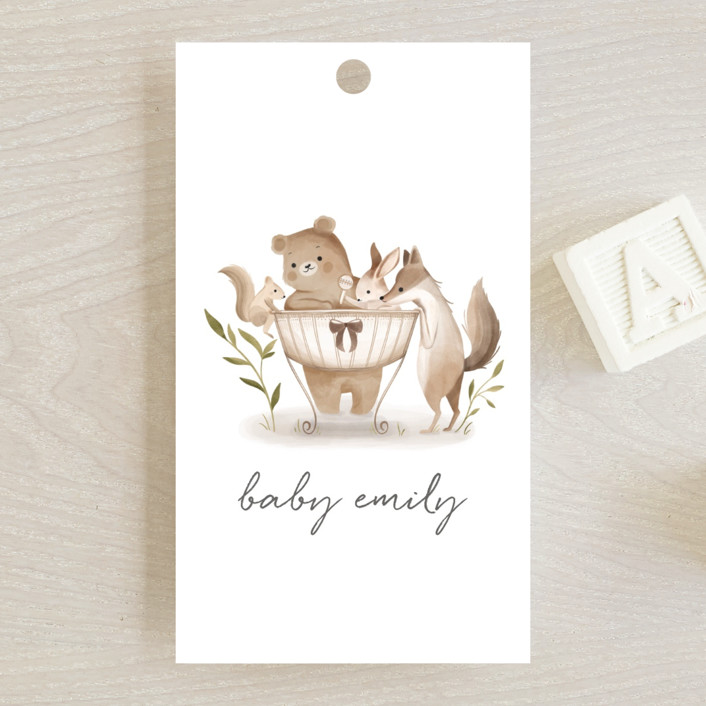 """Woodland Baby"" - Whimsical & Funny Baby Shower Favor Tags in Neutral by Vivian Yiwing."