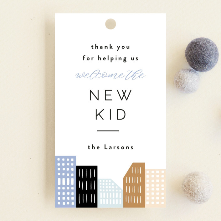 """Modern new kid on the block"" - Whimsical & Funny Baby Shower Favor Tags in Sky by Alethea and Ruth."
