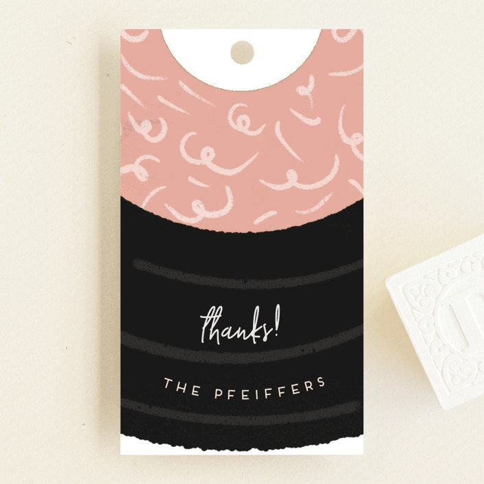 """""""Music and Nature"""" - Whimsical & Funny Baby Shower Favor Tags in Blush by Grae Sales."""