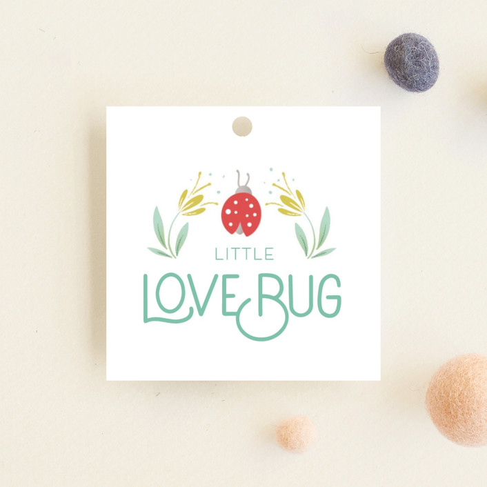 """""""Little Love Bug"""" - Baby Shower Favor Tags in Ladybug by Gia Graham."""