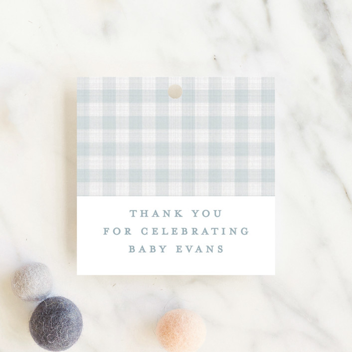 """Charming"" - Preppy Baby Shower Favor Tags in Sky by Lea Delaveris."