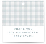 This is a blue baby shower favor tag by Lea Delaveris called Charming with standard printing on signature in sticker.