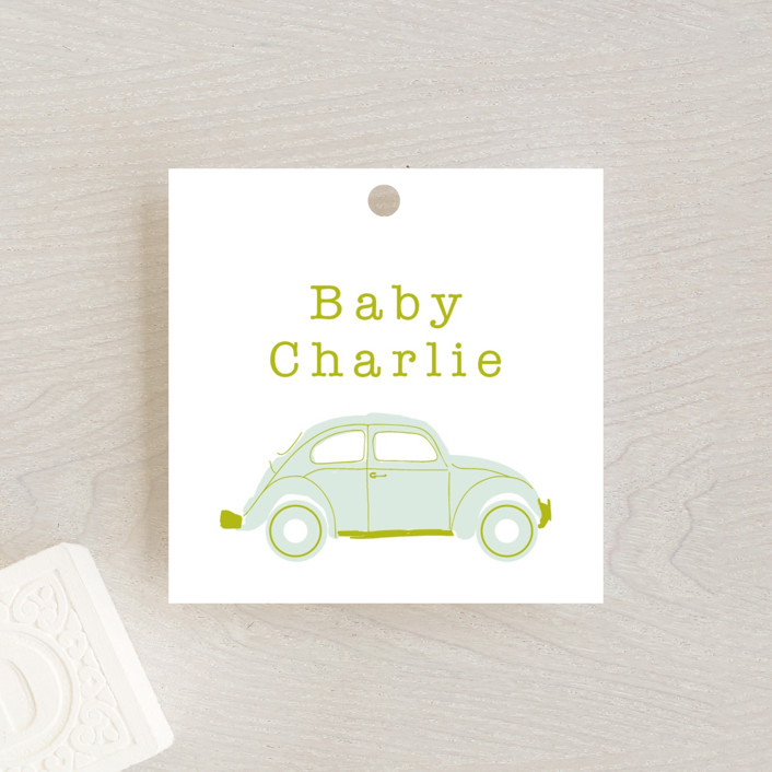 """Love Bug"" - Whimsical & Funny Baby Shower Favor Tags in Pine by Baumbirdy."