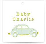 This is a green baby shower favor tag by Baumbirdy called Love Bug with standard printing on signature in sticker.