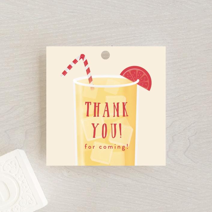 """""""Lemonade"""" - Whimsical & Funny Baby Shower Favor Tags in Lemon by Ink and Letter."""