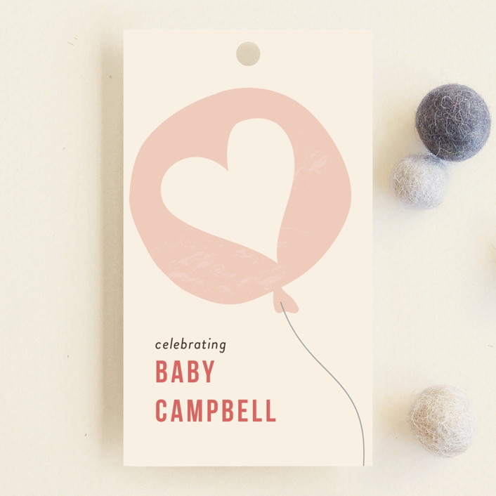 """Party at my crib"" - Whimsical & Funny Baby Shower Favor Tags in Coral by Laura Condouris."