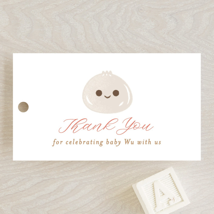 """""""Dumpling"""" - Whimsical & Funny Baby Shower Favor Tags in Blush by curiouszhi design."""