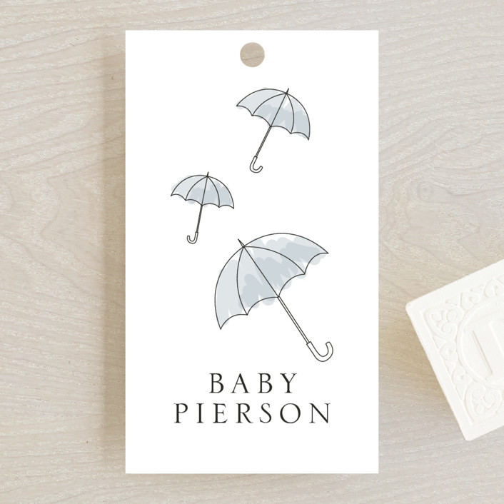 """Umbrellas"" - Whimsical & Funny Baby Shower Favor Tags in Cornflower by Erin Deegan."