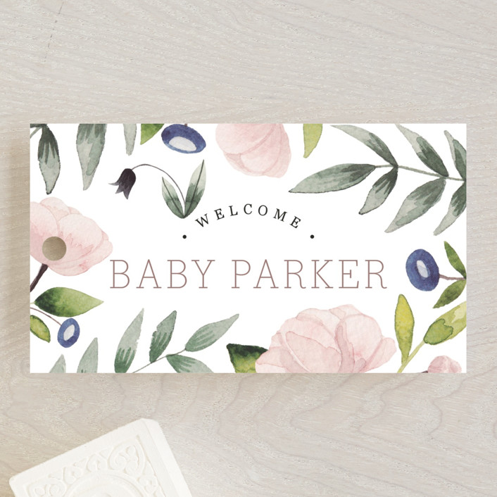 """Flowers for baby"" - Baby Shower Favor Tags in Rose by Yuliya Evseeva."