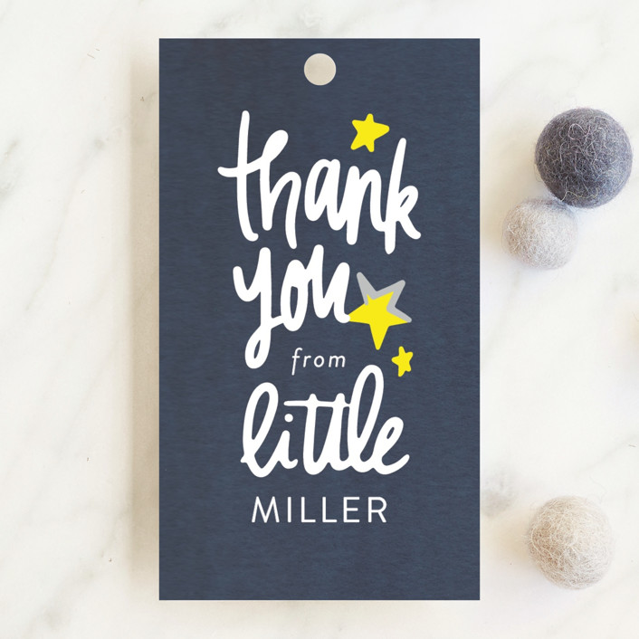 """""""Hey, Diddle, Diddle"""" - Whimsical & Funny Baby Shower Favor Tags in Navy by Meggy Masters."""