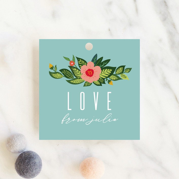 """""""Flowery Oh Baby"""" - Baby Shower Favor Tags in Teal by Kann Orasie."""