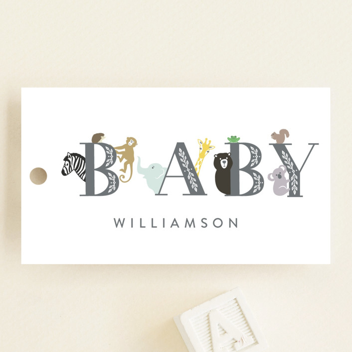"""""""Animal Baby"""" - Whimsical & Funny Baby Shower Favor Tags in Charcoal by Basil Design Studio."""