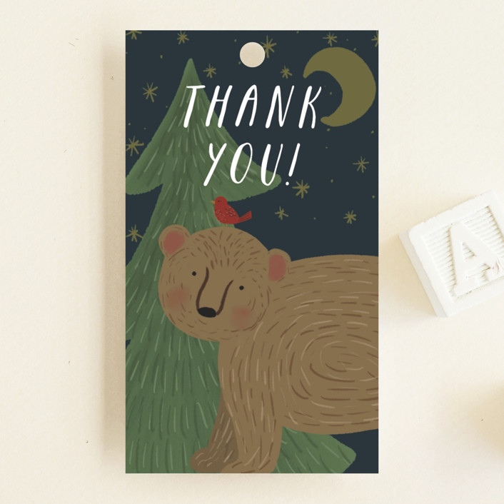 """""""Mama Bear"""" - Whimsical & Funny Baby Shower Favor Tags in Nightfall by Joanna Griffin."""