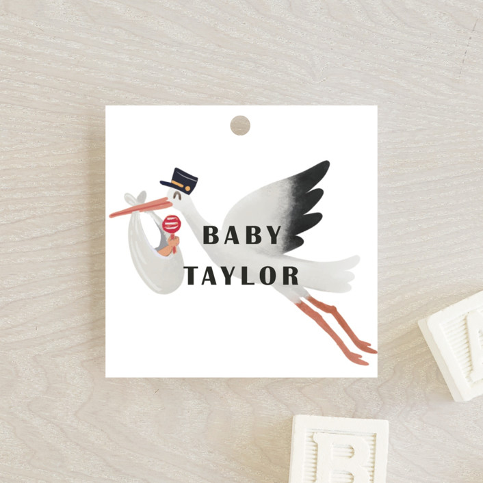 """""""It Takes A Village"""" - Whimsical & Funny Baby Shower Favor Tags in Rouge by Elly."""