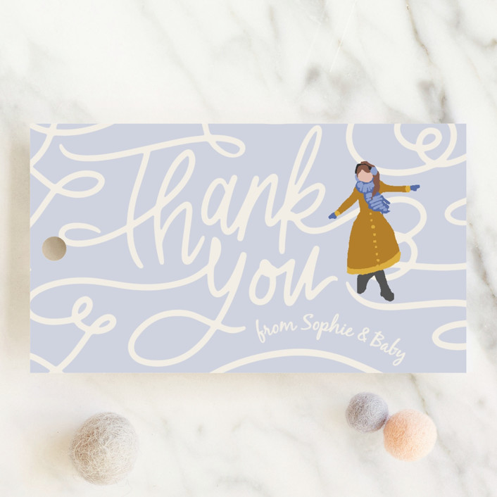 """Winter Skate"" - Whimsical & Funny Baby Shower Favor Tags in Primary by Meggy Masters."