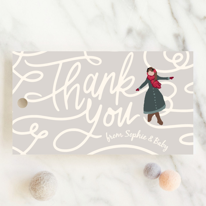 """""""Winter Skate"""" - Whimsical & Funny Baby Shower Favor Tags in Midnight by Meggy Masters."""