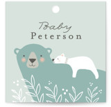 This is a green baby shower favor tag by Karidy Walker called Mama Bear with standard printing on signature in sticker.