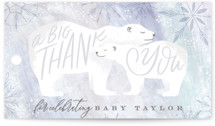 This is a blue baby shower favor tag by Alethea and Ruth called Snow Bear Hug with standard printing on signature in sticker.