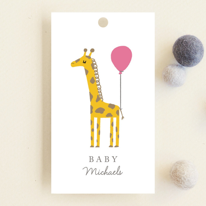 """Mama and Baby Giraffe"" - Whimsical & Funny Baby Shower Favor Tags in Ice Cream by mo kelley."