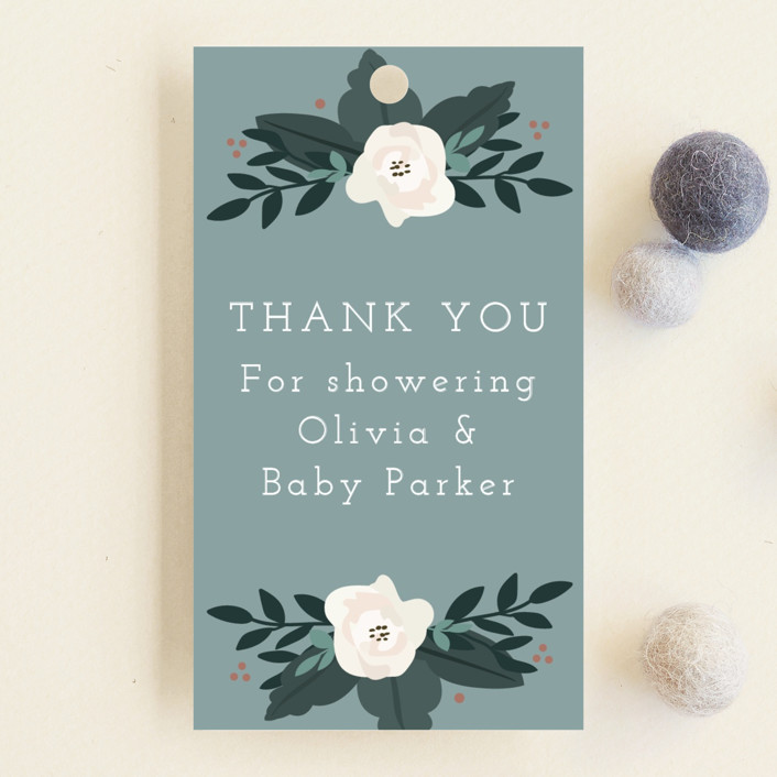 """Boho Wreath"" - Baby Shower Favor Tags in Fern by Hudson Meet Rose."