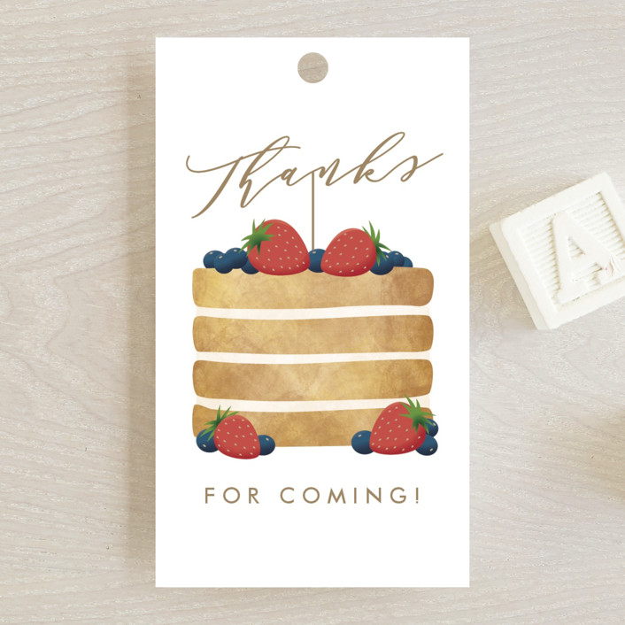 """Berry Cake"" - Whimsical & Funny Baby Shower Favor Tags in Strawberry by Ink and Letter."