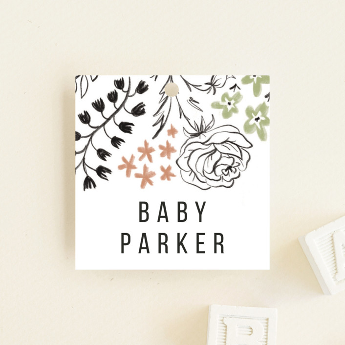 """""""Surrounded by flowers"""" - Baby Shower Favor Tags in Sage by Susanne Kasielke."""