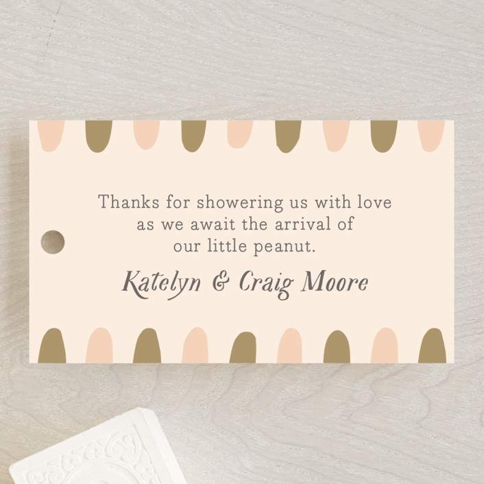 """""""Peanuts and Popcorn"""" - Whimsical & Funny Baby Shower Favor Tags in Blush by Carrie ONeal."""