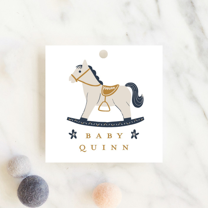 """Crown"" - Whimsical & Funny Baby Shower Favor Tags in Navy by Vivian Yiwing."