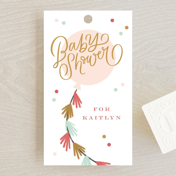 """""""Fringe"""" - Whimsical & Funny Baby Shower Favor Tags in Blush by Kristen Smith."""