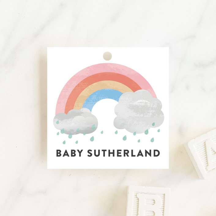 """Rainbow through the clouds"" - Whimsical & Funny Baby Shower Favor Tags in Blush by Jessica Ogden."