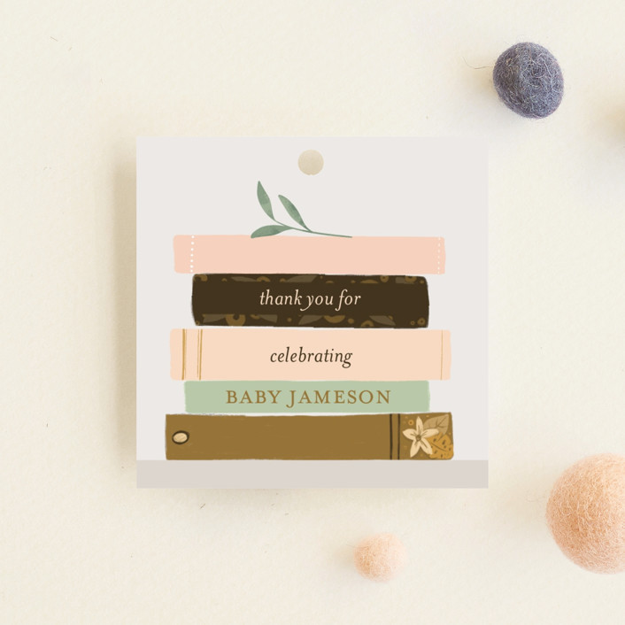 """""""Book Lovers"""" - Baby Shower Favor Tags in Mustard by Lottie Made Co."""