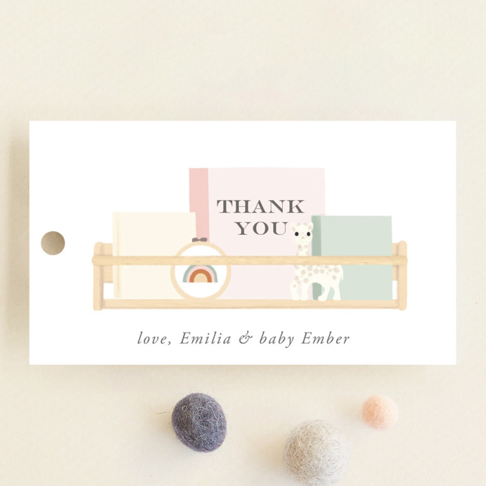 """""""Baby Girl Shelves"""" - Whimsical & Funny Baby Shower Favor Tags in Tropical by Itsy Belle Studio."""