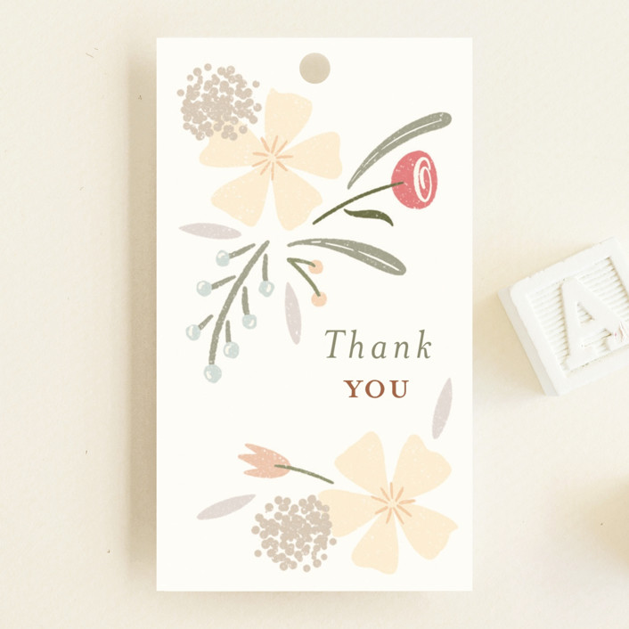 """""""Happy Florals"""" - Baby Shower Favor Tags in Daisy by Erin German."""