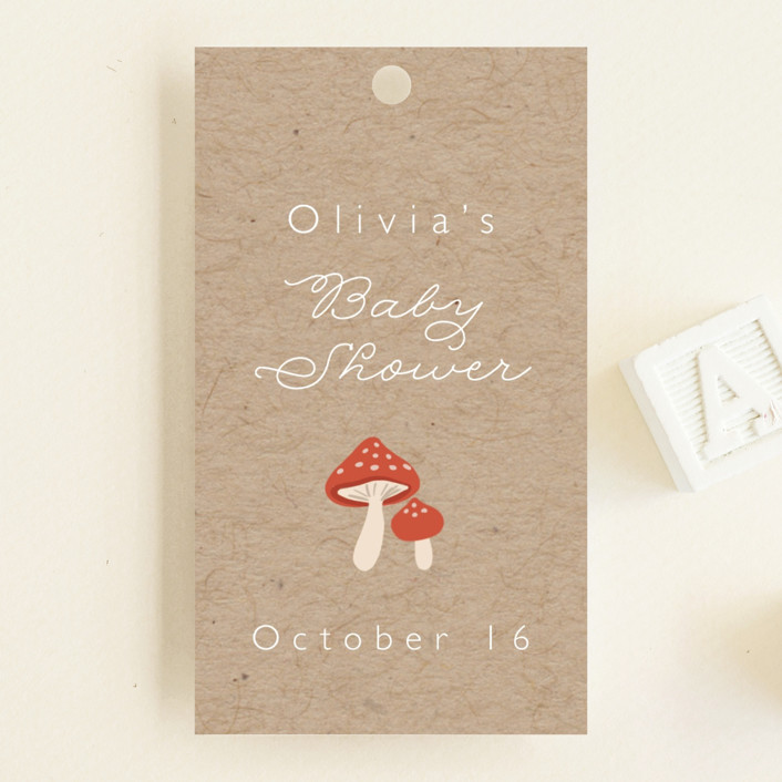 """""""Woodland"""" - Whimsical & Funny Baby Shower Favor Tags in Birch by Caitlin Considine."""